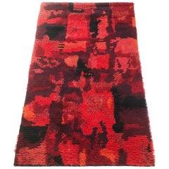 Original Abstract Scandinavian High Pile Pop Art Rya Rug Carpet, Finland, 1960s