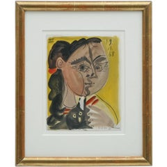 Original Abstract Watercolor Painting of Young Woman with Cat by Raymond Debieve