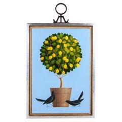 Original Acrylic on Wood Painting of Birds & Pot with Tree by A Rangel Hidalgo