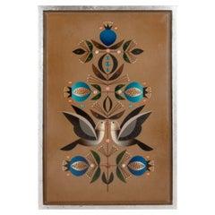 Original Acrylic on Wood Painting of Doves & Pomegranates by A Rangel Hidalgo