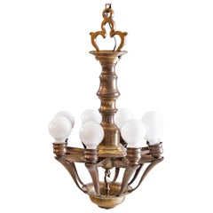Original Adolf Loos & Karel Lhota Chandelier Villa Kapsa Prague, Art Deco 1930