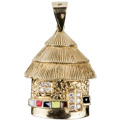 Original African House in 18 Karat Gold Diamonds and Color Enamel Pendant