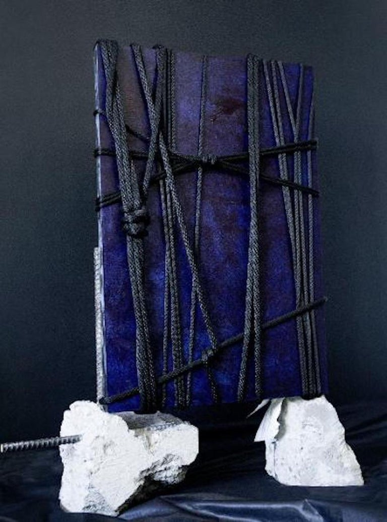 """Rope Original """"Aizome"""" Modern Sculptural Relief Painting by Artist Chanel Verdult For Sale"""