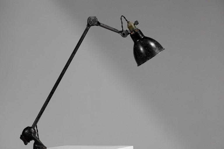 French Original Albert Albin Gras Metal Workshop Lamp Table Le Corbusier 1940, F009 For Sale