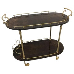 Original Aldo Tura Lacquered Goatskin Bar Trolley