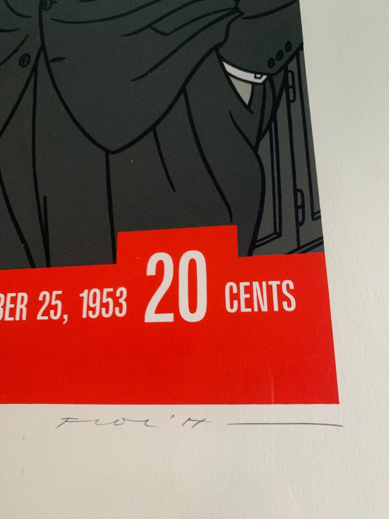 Mid-Century Modern Original Alfred Hitchcock Out of the Fridge 1953 by Floc'h, Signed and Numbered For Sale