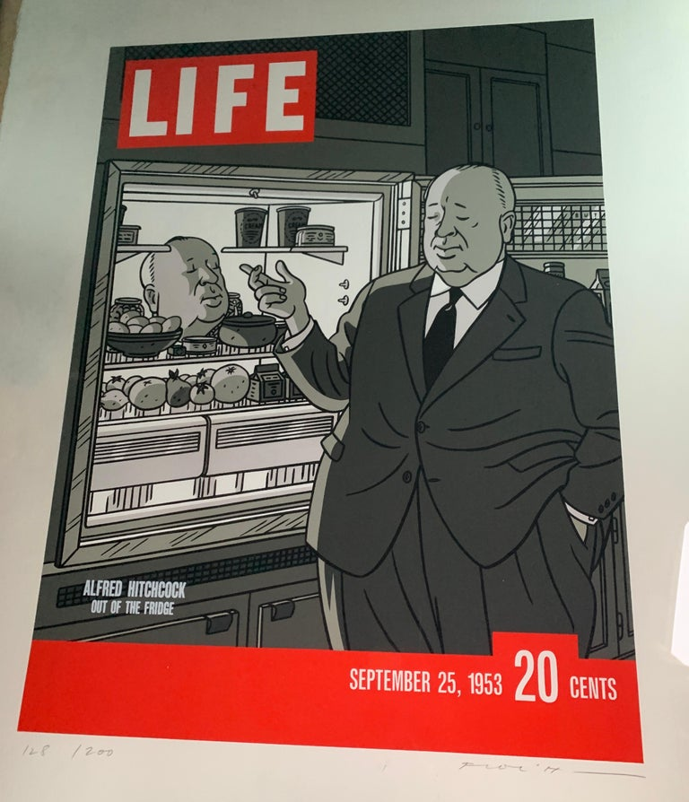 French Original Alfred Hitchcock Out of the Fridge 1953 by Floc'h, Signed and Numbered For Sale