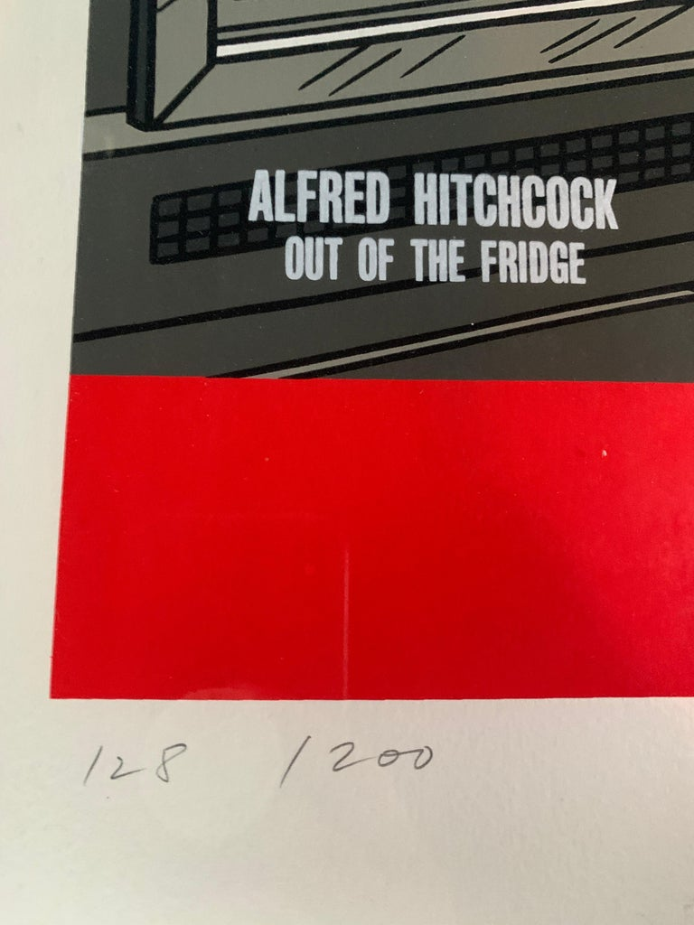 Machine-Made Original Alfred Hitchcock Out of the Fridge 1953 by Floc'h, Signed and Numbered For Sale