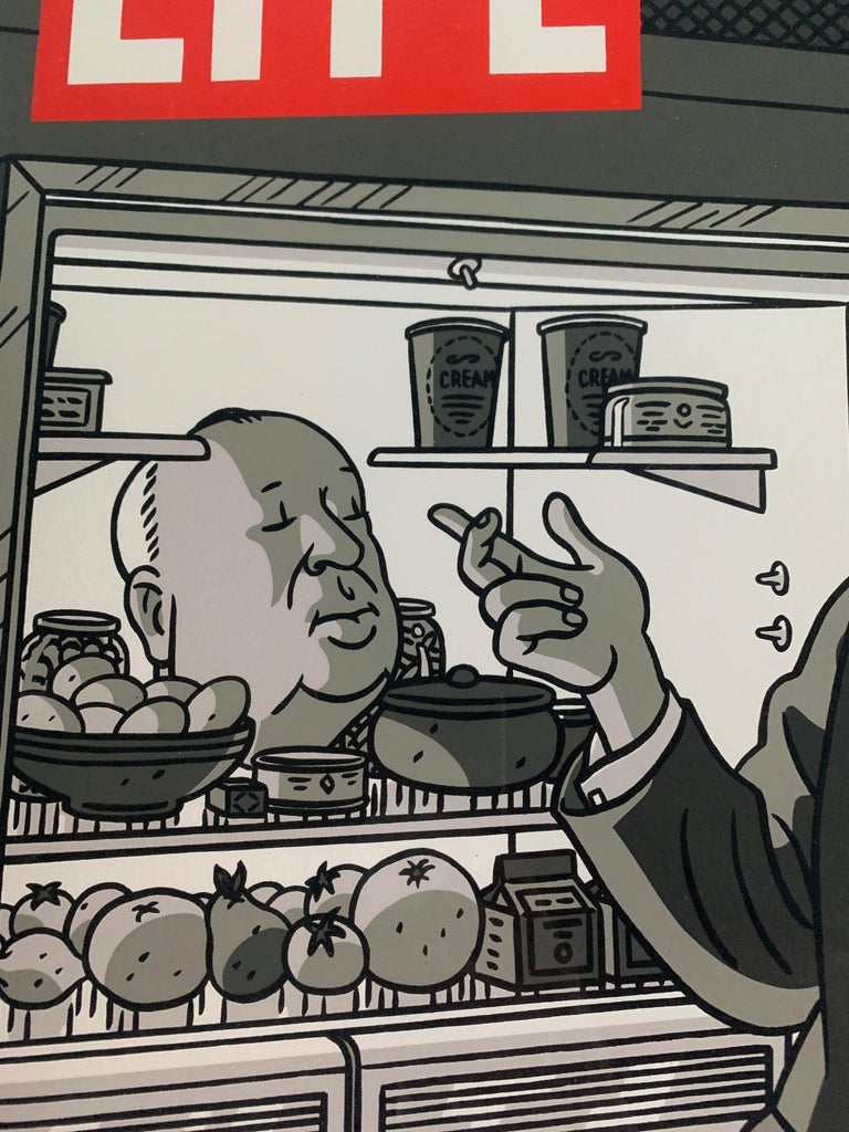 Original Alfred Hitchcock Out of the Fridge 1953 by Floc'h, Signed and Numbered In Good Condition For Sale In London, GB