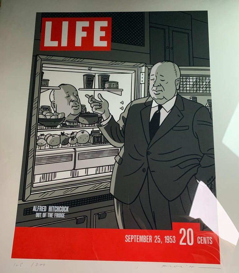 Original Alfred Hitchcock Out of the Fridge 1953 by Floc'h, Signed and Numbered For Sale 1