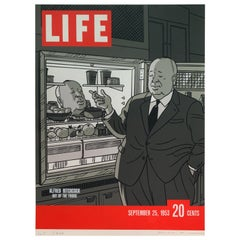 Original Alfred Hitchcock Out of the Fridge 1953 by Floc'h, Signed and Numbered