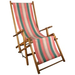 Original American Midcentury Ergelax Folding Canvas Lounge Chair, circa 1950s