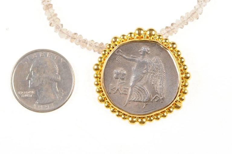 Original ancient greek coin necklace pendant set in 22 karat gold original ancient greek coin necklace pendant set in 22 karat gold in good condition for mozeypictures Images