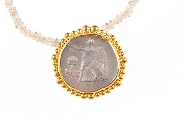 18th Century and Earlier Authentic Ancient Greek Tetradrachm Coin of Athena, in Custom 22-kt Gold Pendant For Sale