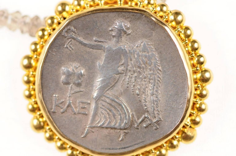 Metal Authentic Ancient Greek Tetradrachm Coin of Athena, in Custom 22-kt Gold Pendant For Sale
