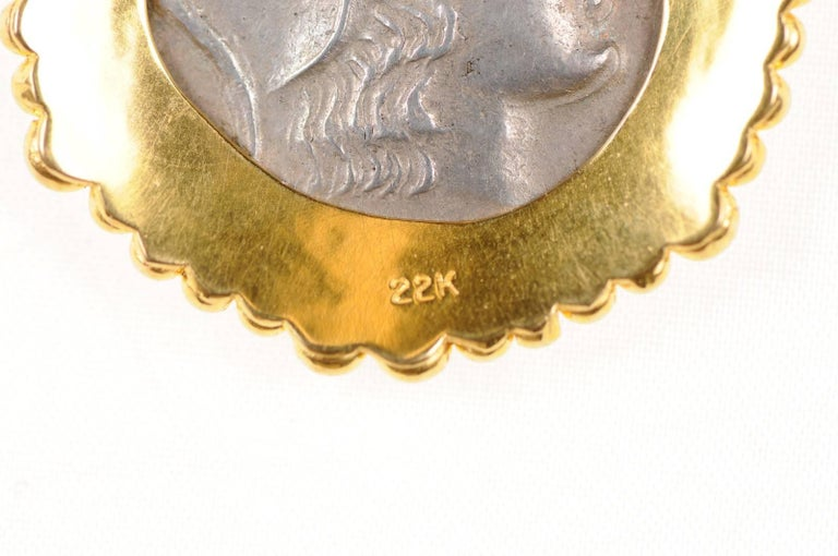 Authentic Ancient Greek Tetradrachm Coin of Athena, in Custom 22-kt Gold Pendant For Sale 2