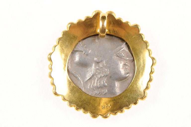 Authentic Ancient Greek Tetradrachm Coin of Athena, in Custom 22-kt Gold Pendant For Sale 3