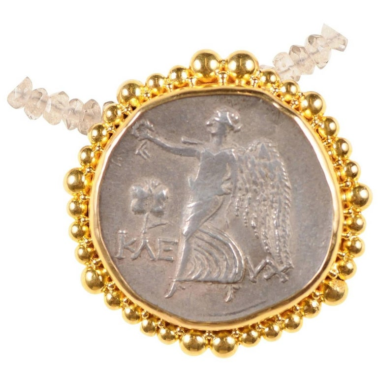 Authentic Ancient Greek Tetradrachm Coin of Athena, in Custom 22-kt Gold Pendant For Sale