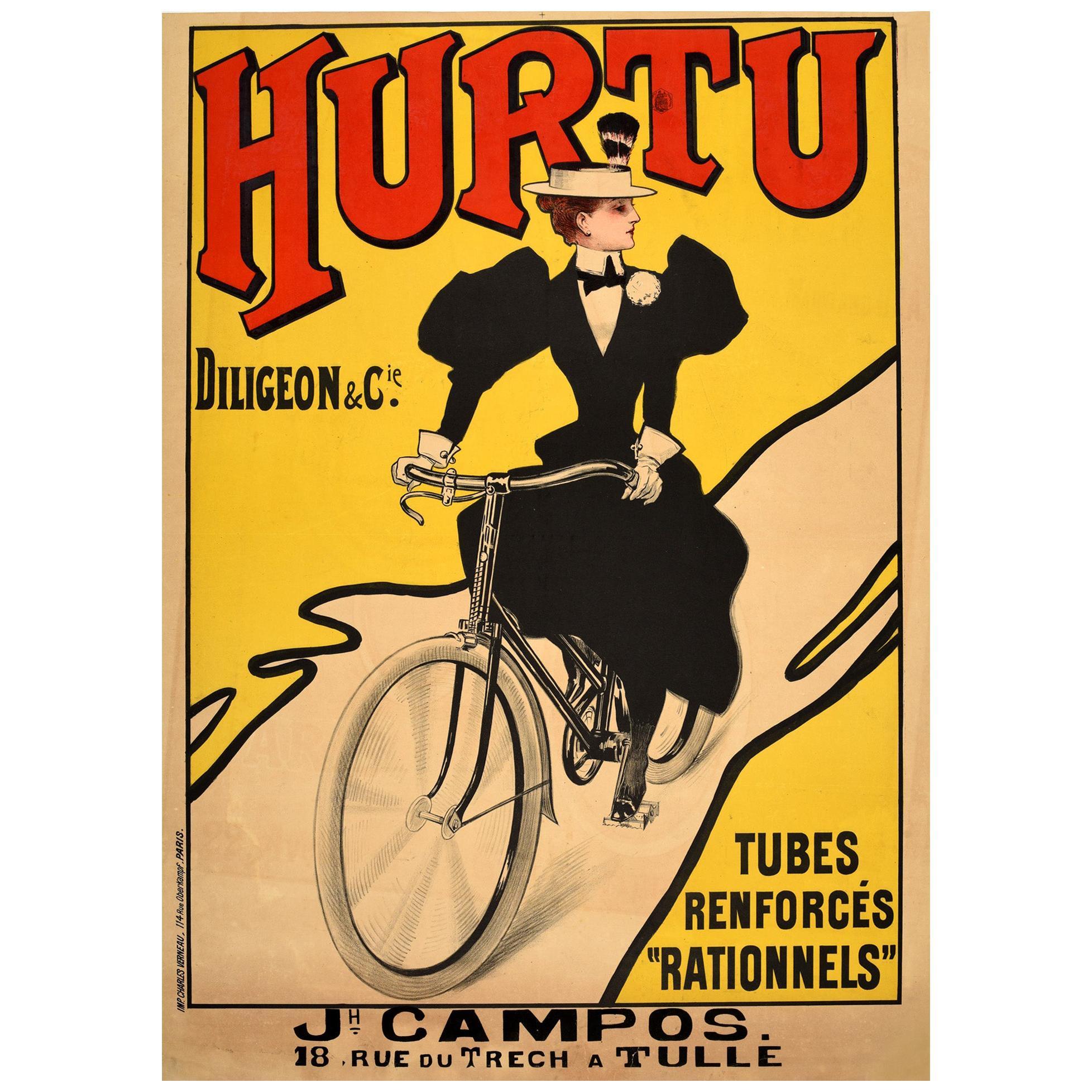 Original Antique Advertising Poster For Hurtu Bicycles Diligeon Et Cie Tubes