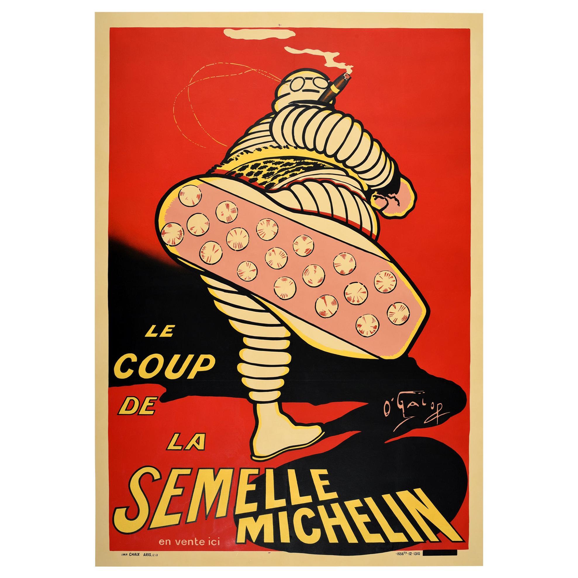 Original Antique Advertising Poster Iconic Bibendum Michelin Man Design O'Galop