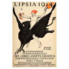 Original Antique Advertising Poster Lipsia Book & Graphic Art Exhibition Griffin