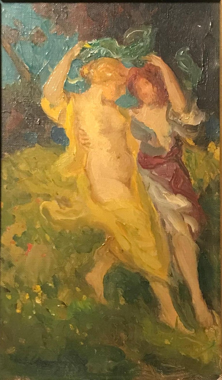 """Original antique American oil painting, signed Charles Walter Stetson, 1900  This dreamlike and idyllic oil on canvas """"sketch"""" by Charles Walter Stetson (1858-1911) is untouched, in its original giltwood frame and signed on the lower left. This"""