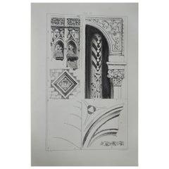 Original Antique Architectural Print by John Ruskin circa 1880, 'Abbeville'