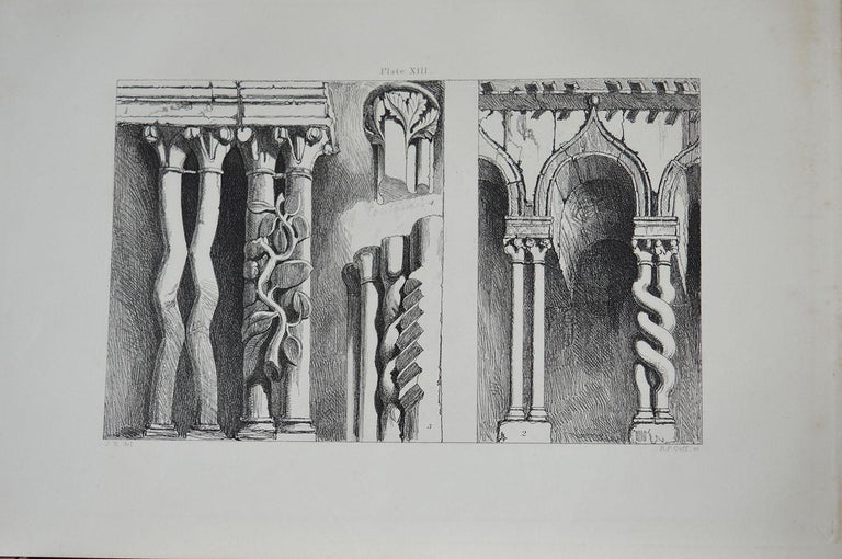 Wonderful Gothic architectural print.  Portions of an arcade on The South Side of The Cathedral of Ferrara  Steel engraving by R.P. Cuff after the original drawing by John Ruskin  Published, circa 1880  On wove quality paper