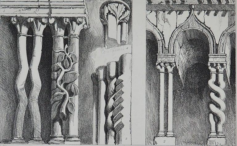 Gothic Revival Original Antique Architectural Print by John Ruskin, circa 1880, 'Ferrara'