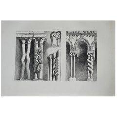 Original Antique Architectural Print by John Ruskin, circa 1880, 'Ferrara'