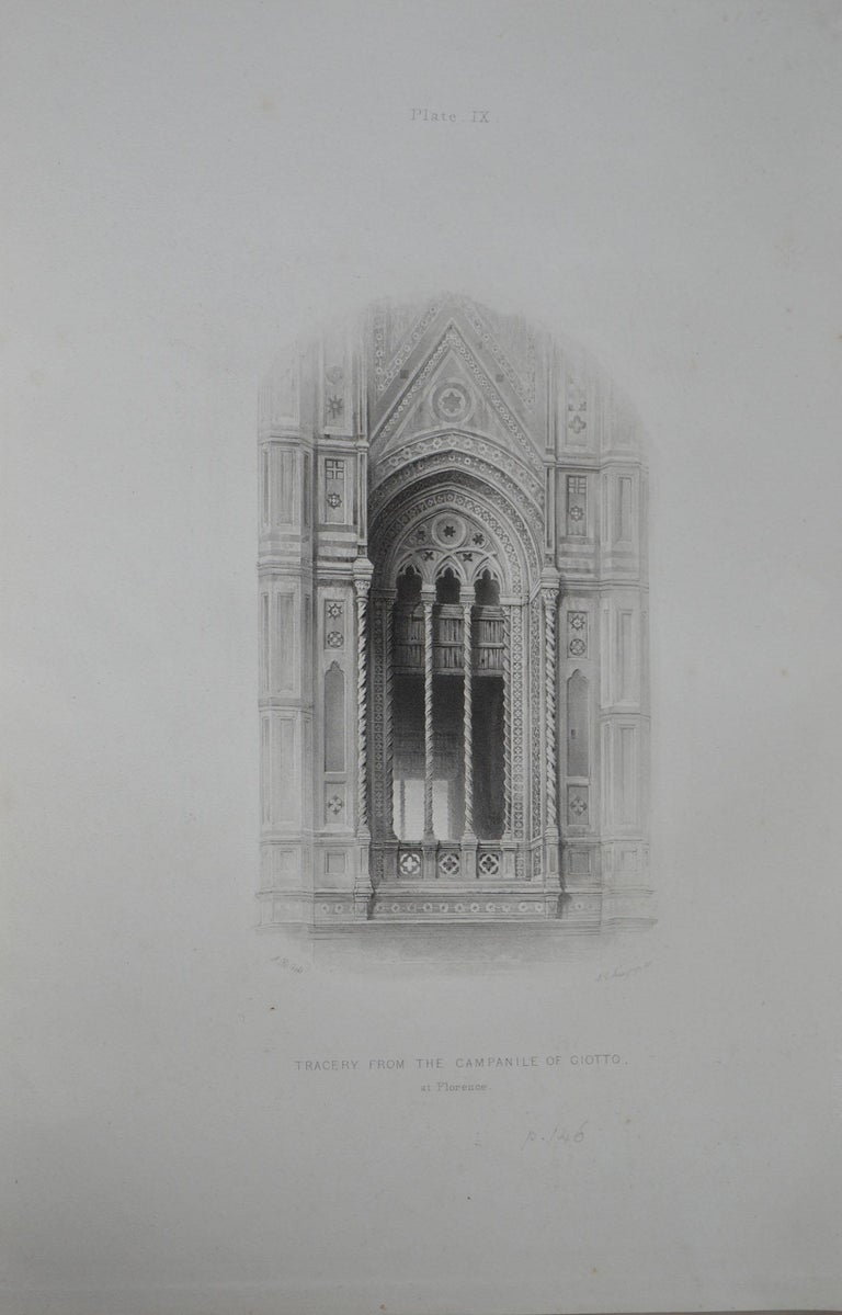 Wonderful Gothic architectural print.  Tracery from the Campanile of Giotto, at Florence  Steel engraving by R.P. Cuff after the original drawing by John Ruskin  Published, circa 1880  On wove quality paper   Unframed.