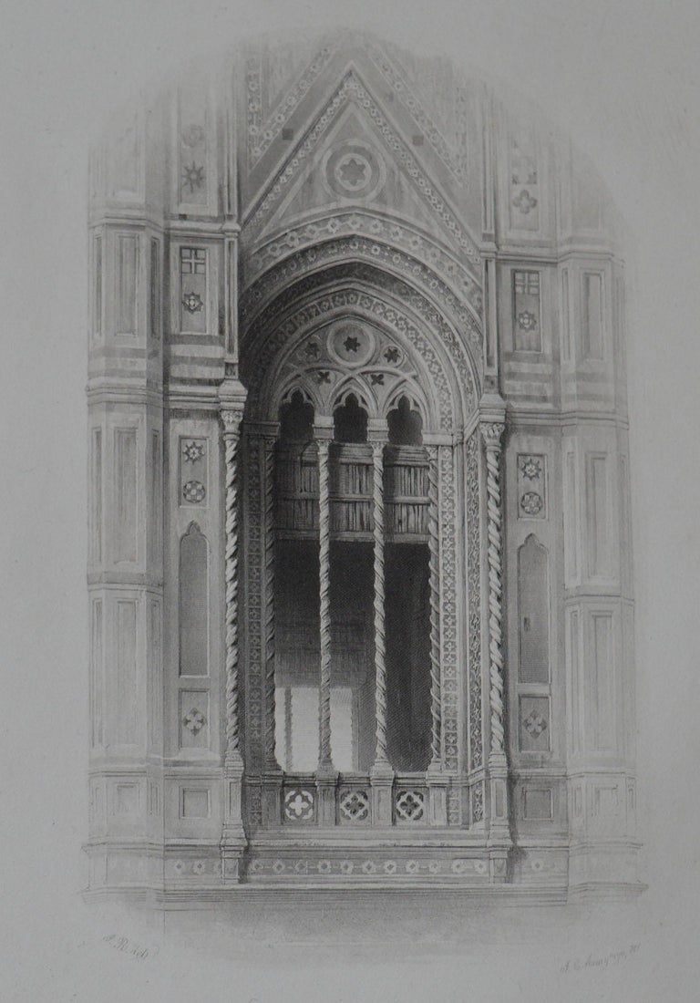 Gothic Revival Original Antique Architectural Print by John Ruskin, circa 1880, 'Florence'