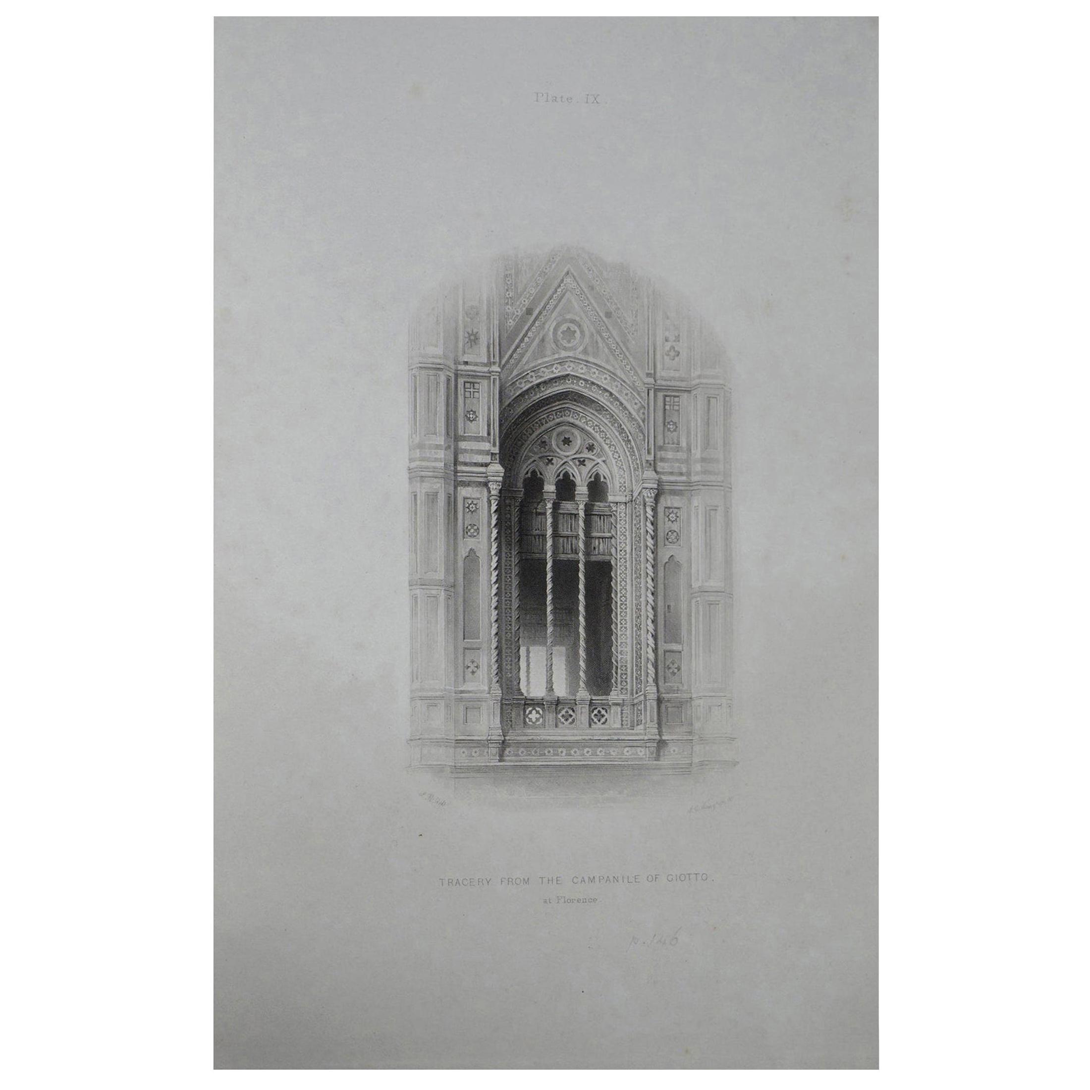 Original Antique Architectural Print by John Ruskin, circa 1880, 'Florence'