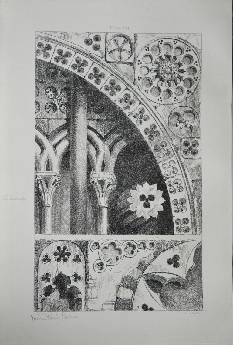 Wonderful Gothic architectural print.  Pierced ornaments from Lisieux, Bayeux, Verona and Padua  Steel engraving by R.P. Cuff after the original drawing by John Ruskin  Published, circa 1880  On wove quality paper   Unframed.