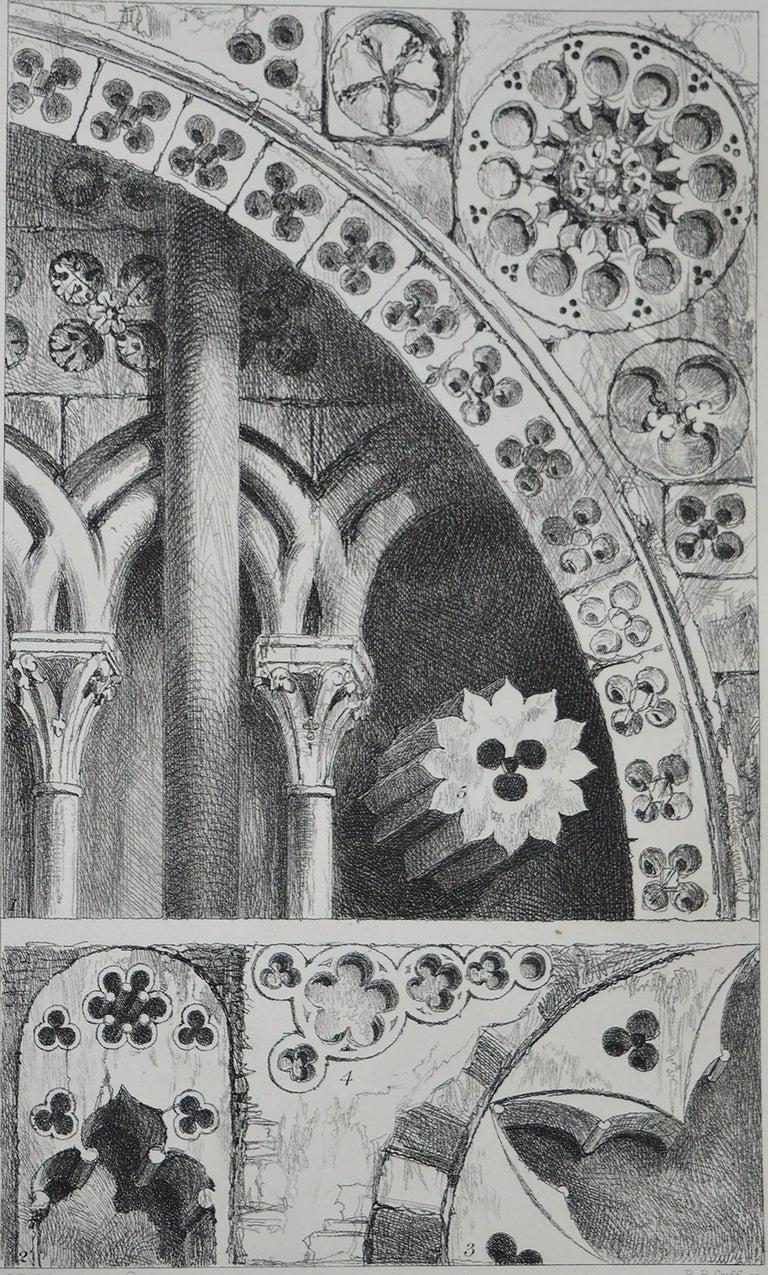 Gothic Revival Original Antique Architectural Print by John Ruskin, circa 1880, 'Lisieux'