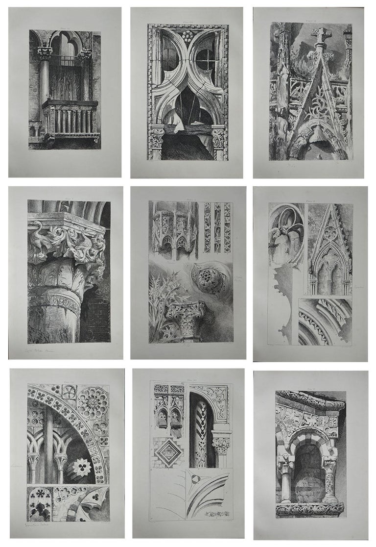 English Original Antique Architectural Print by John Ruskin, circa 1880, 'Lisieux'