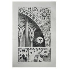 Original Antique Architectural Print by John Ruskin, circa 1880, 'Lisieux'