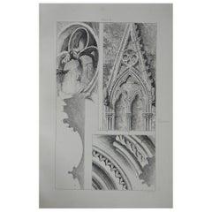 Original Antique Architectural Print by John Ruskin, circa 1880, 'Rouen'