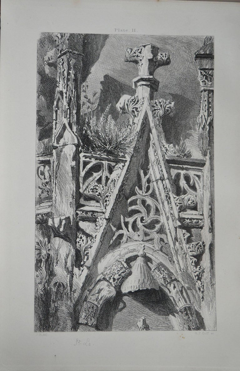 Wonderful gothic architectural print.  Cathedral of St. Lo  Steel engraving by R.P. Cuff after the original drawing by John Ruskin  Published circa 1850  On wove quality paper   Unframed.