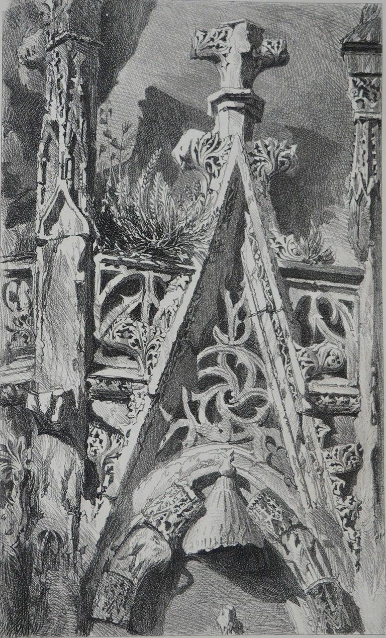 Gothic Revival Original Antique Architectural Print by John Ruskin, circa 1880 'St. Lo'