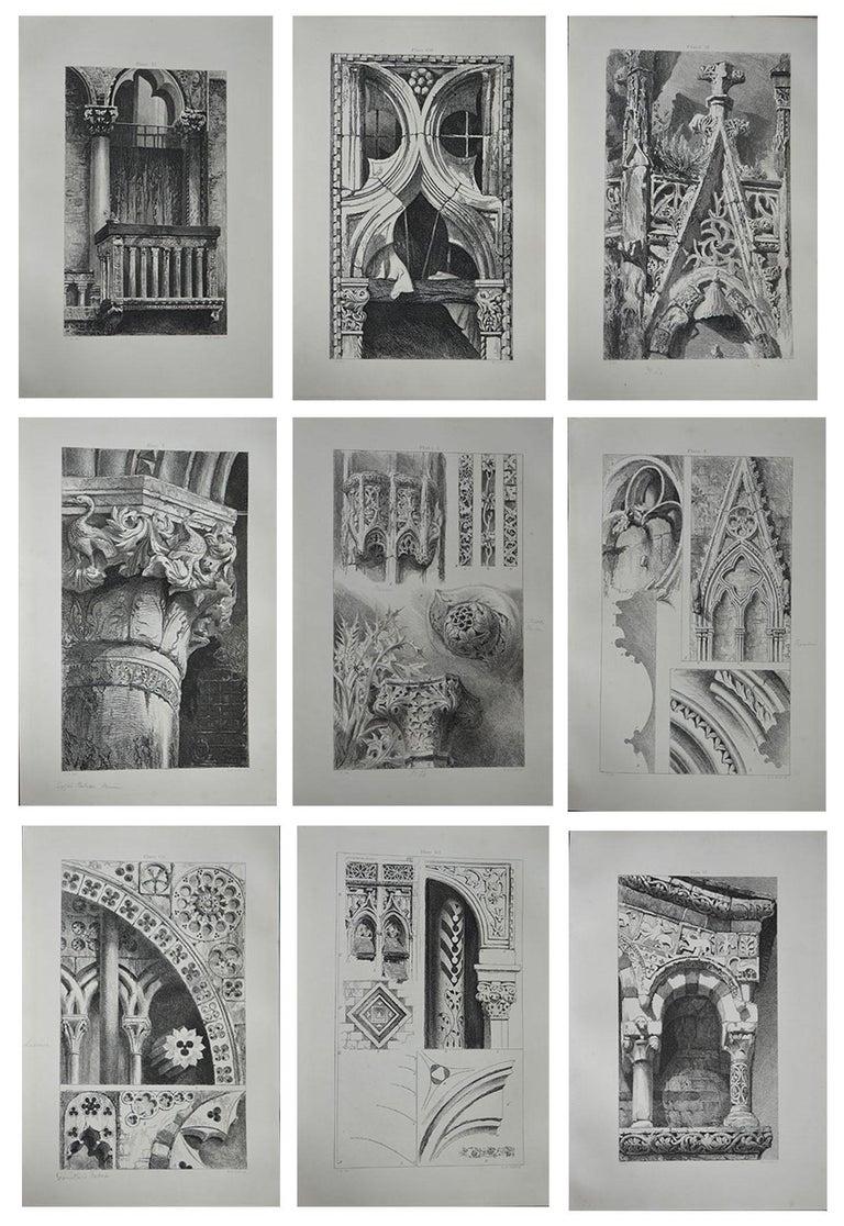 English Original Antique Architectural Print by John Ruskin, circa 1880 'St. Lo'