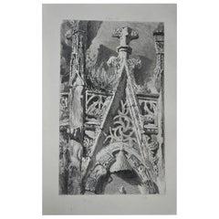 Original Antique Architectural Print by John Ruskin circa 1880 'St. Lo'