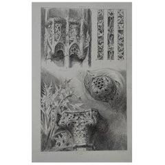 Original Antique Architectural Print by John Ruskin, circa 1880, 'St. Lo'
