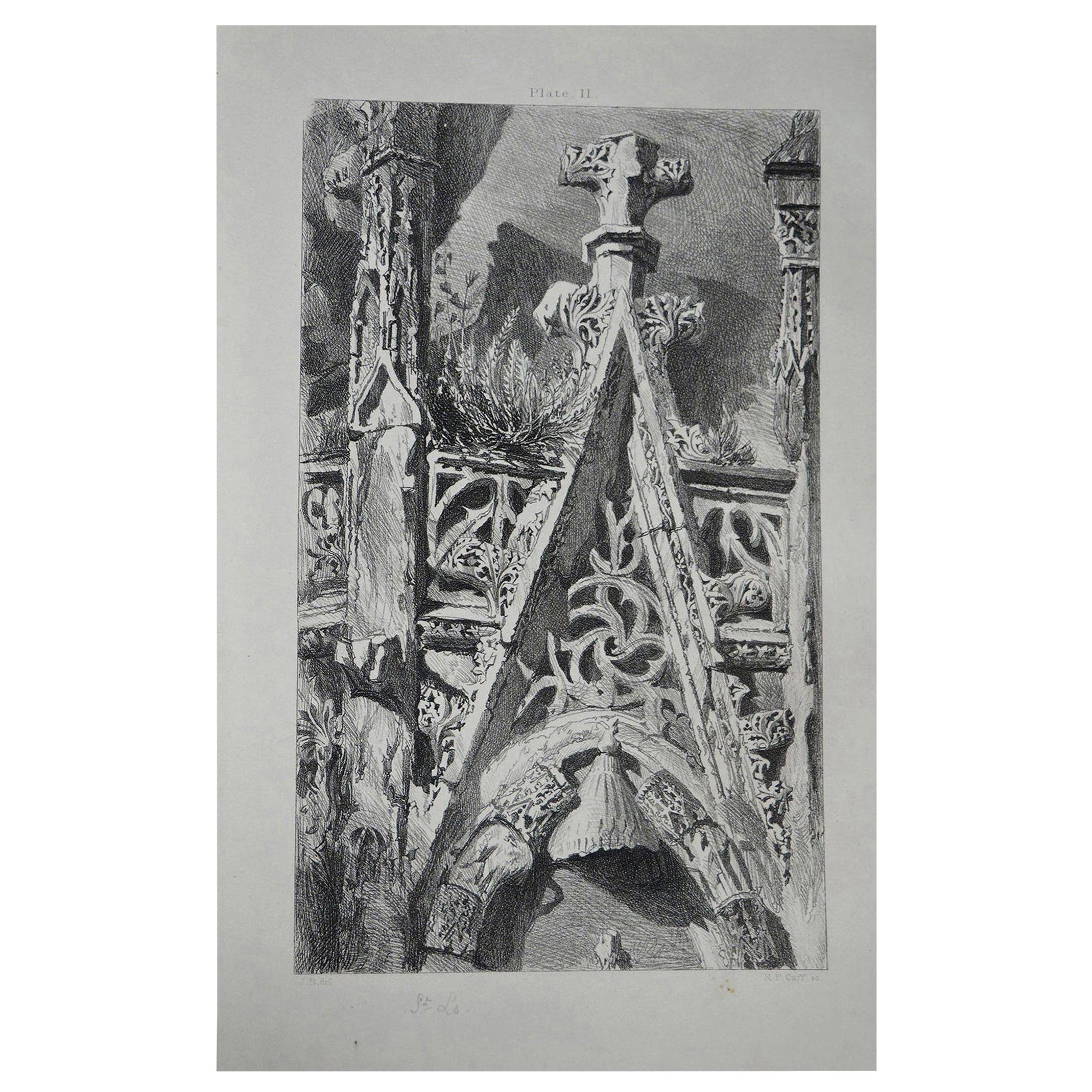 Original Antique Architectural Print by John Ruskin, circa 1880 'St. Lo'