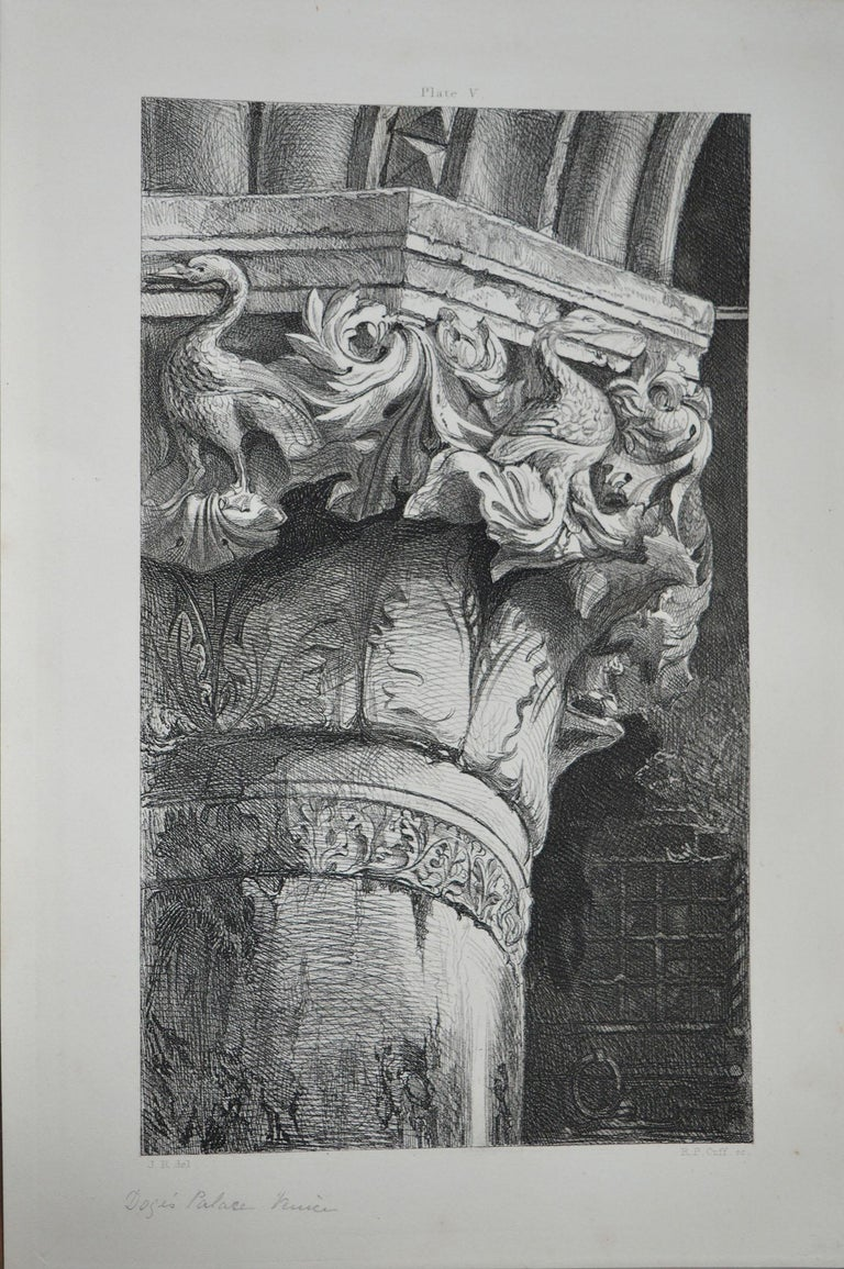 Wonderful Gothic architectural print.  Capital From The Lower Arcade of The Doge's Palace, Venice  Steel engraving by R.P. Cuff after the original drawing by John Ruskin  Published circa 1880  On wove quality paper   Unframed.