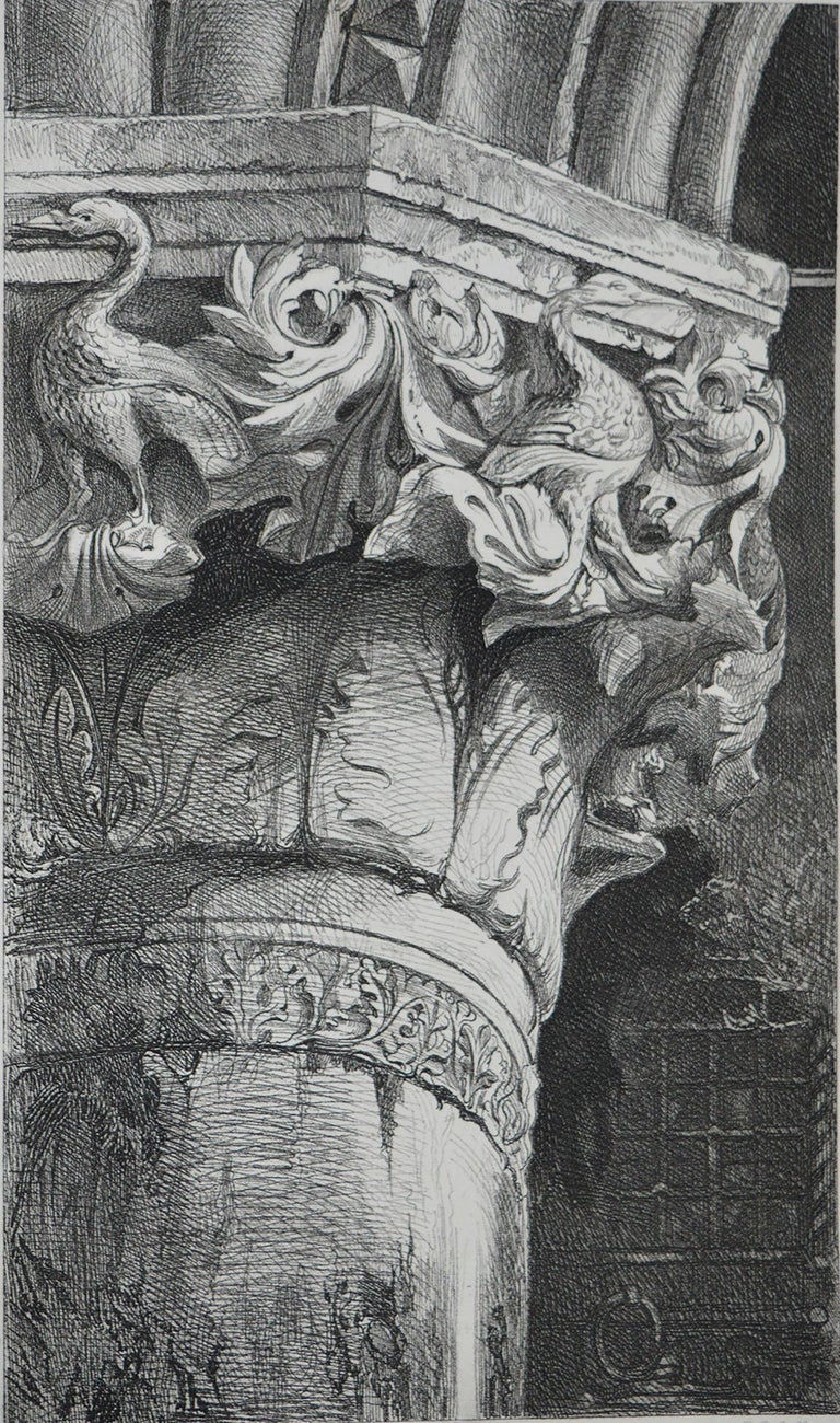 Gothic Revival Original Antique Architectural Print by John Ruskin circa 1880, 'Venice'
