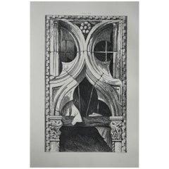 Original Antique Architectural Print by John Ruskin, circa 1880, Venice
