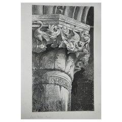 Original Antique Architectural Print by John Ruskin circa 1880, 'Venice'