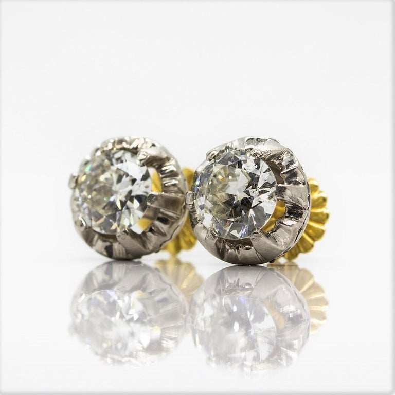 Original Antique Art Deco 18 Karat and Platinum Old Mine Cut Diamonds Earrings In Excellent Condition For Sale In Aventura, FL