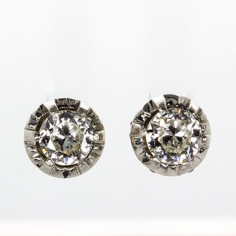 Women's or Men's Original Antique Art Deco 18 Karat and Platinum Old Mine Cut Diamonds Earrings For Sale